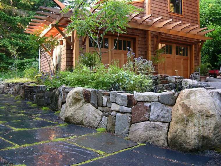 original diseño muro rocas piedras