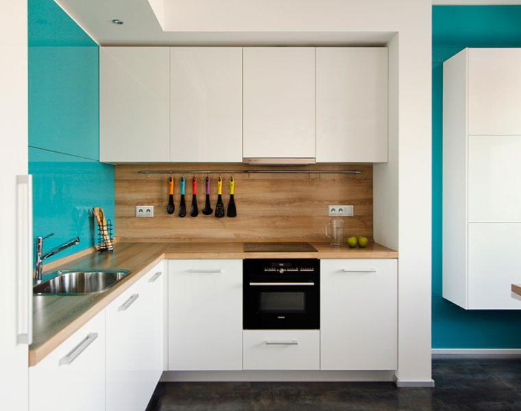 original diseño salpicadero cocina color aguamarina