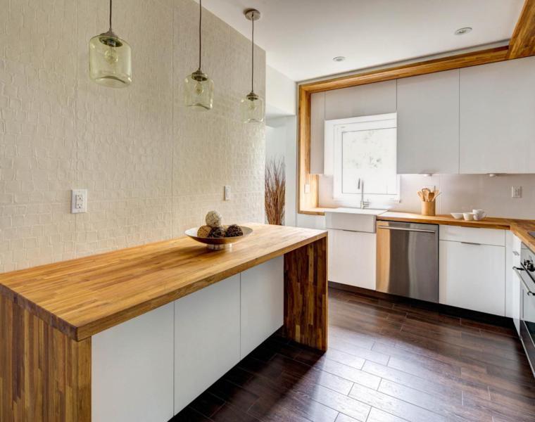 Cocina blanca encimera madera   veinticuatro diseños modernos
