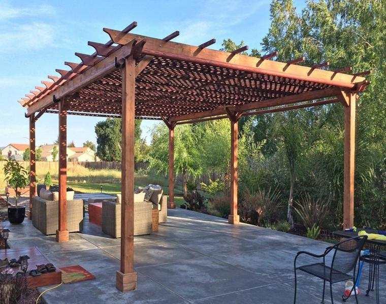 P rgolas madera dise os originales con tejados estilo - Diseno de pergolas de madera ...