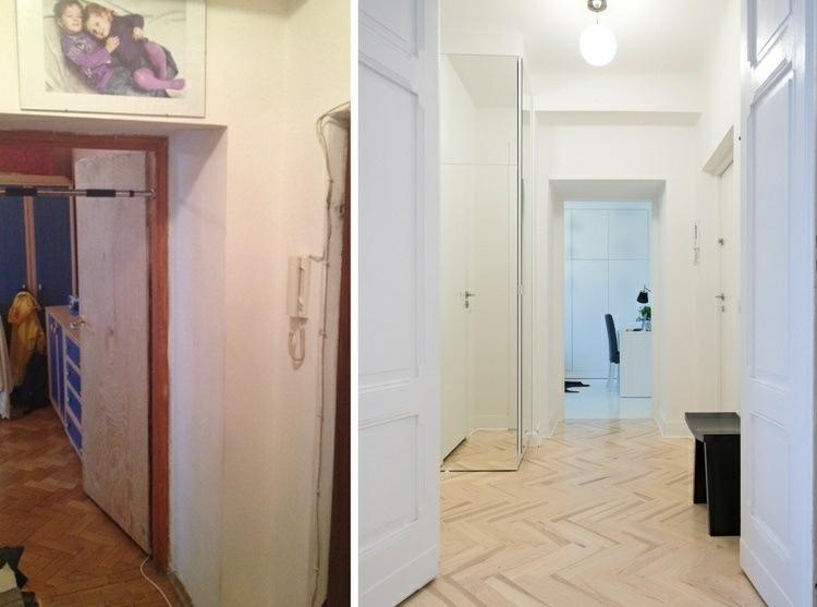 pasillo entradas puertas madera salidas