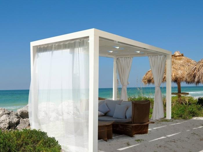 pergola blanca jardin cortinas sofa ideas