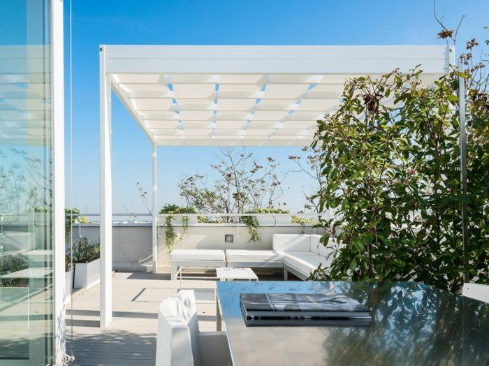 pergola blanca preciosa terraza moderna ideas
