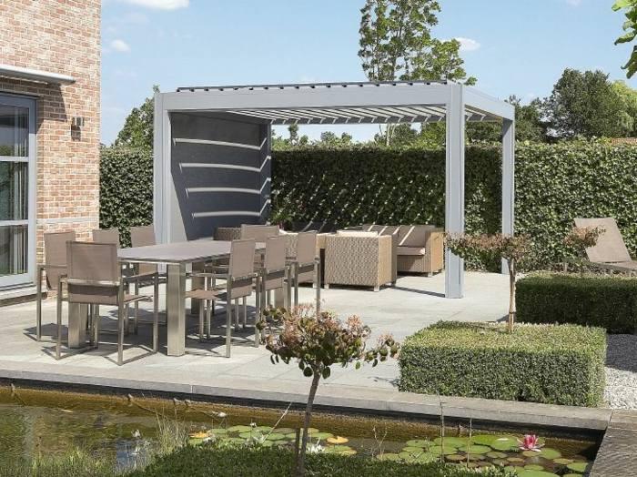pergola de aluminio gris jardin moderno ideas