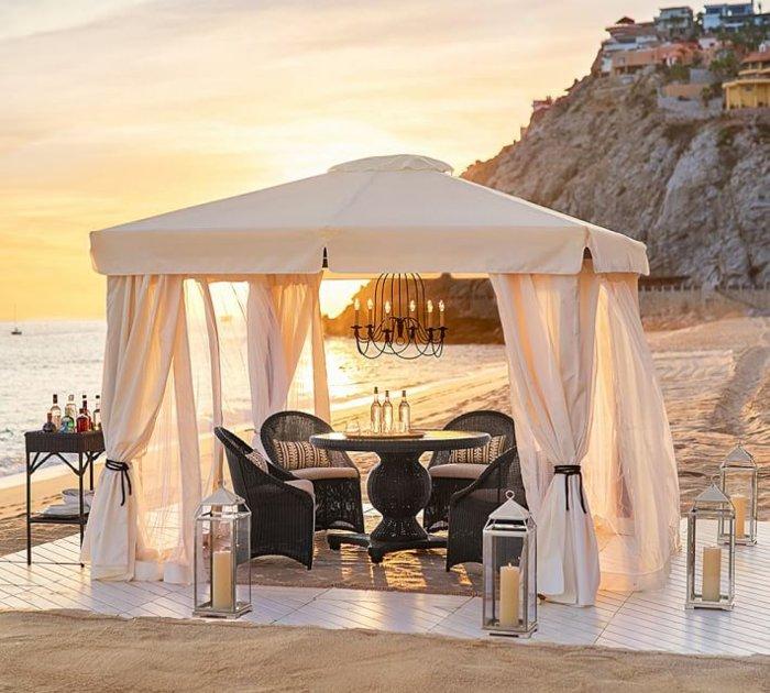 pergola espacio romantico playa candelabros ideas
