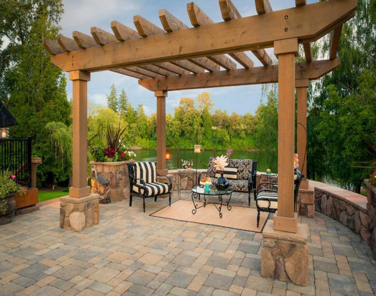 P rgolas madera dise os originales con tejados estilo - Bases para pergolas ...