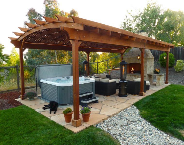 P rgolas madera dise os originales con tejados estilo asi tico - Pergolas baratas para jardin ...