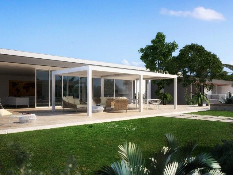 pergolas blanca jardin diseno salon exterior ideas