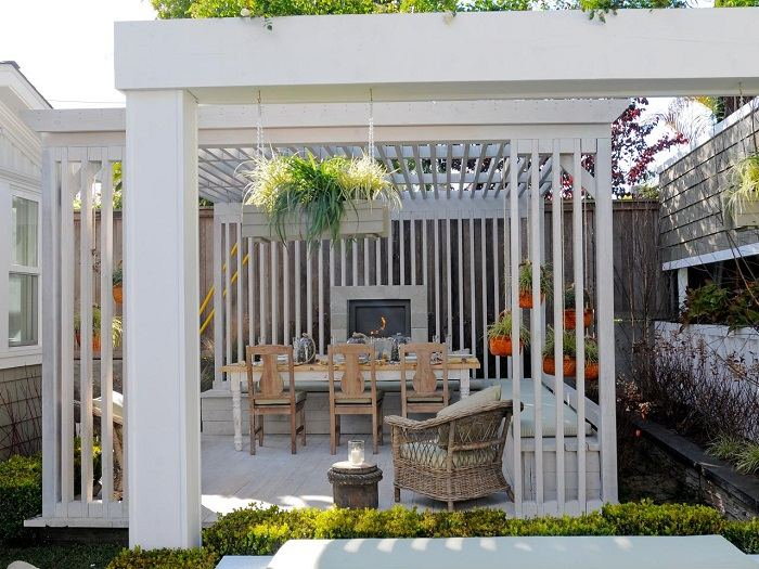 pergolas blancas diseno original jardin ideas