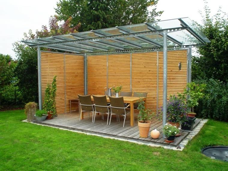 pergolas diseno jardin techo cristal ideas