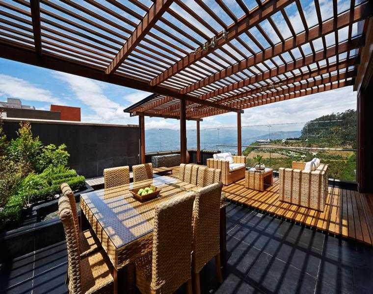 P rgolas madera dise os originales con tejados estilo - Pergolas de madera para terrazas ...