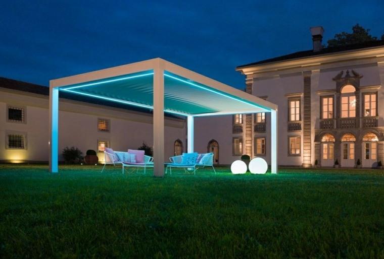 pergolas jardin diseno salon exterior iluminado ideas
