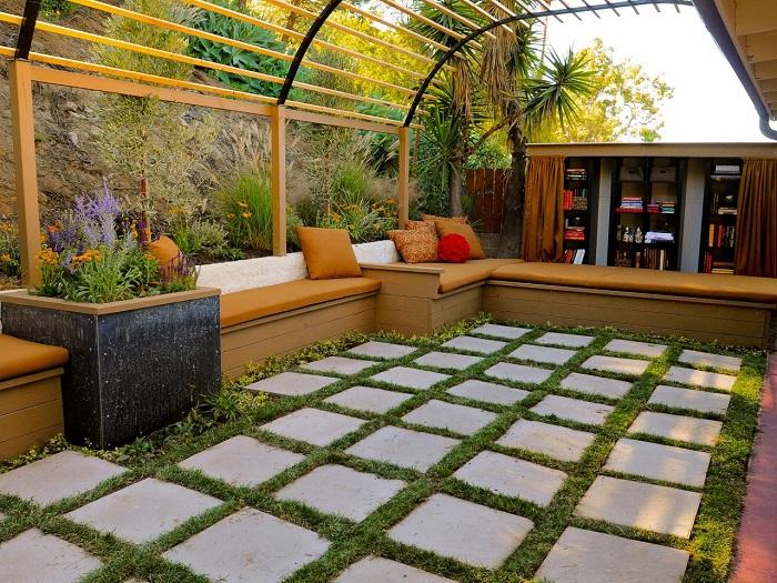 pergolas madera bancos jardin pequeno ideas