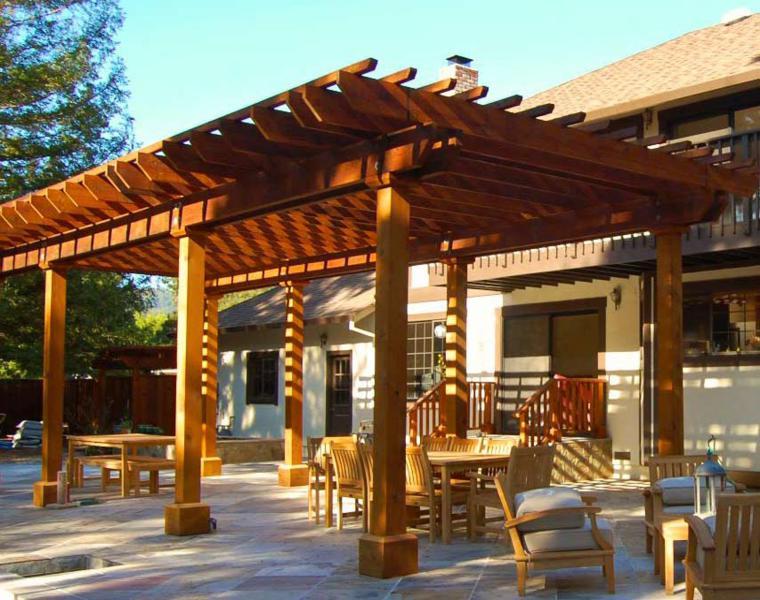 Pergolas madera disenos originales con tejados estilo for Wood patio floor covers
