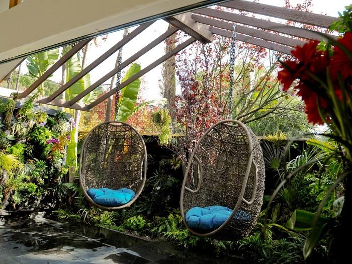 pergolas resistentes sillas colgantes oasis plantas ideas