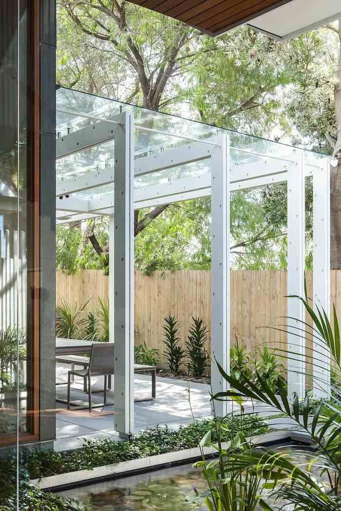 pergolas techo cristal jardines sombra ideas
