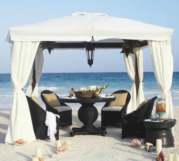 pergolas tela playa muebles ratan negro ideas