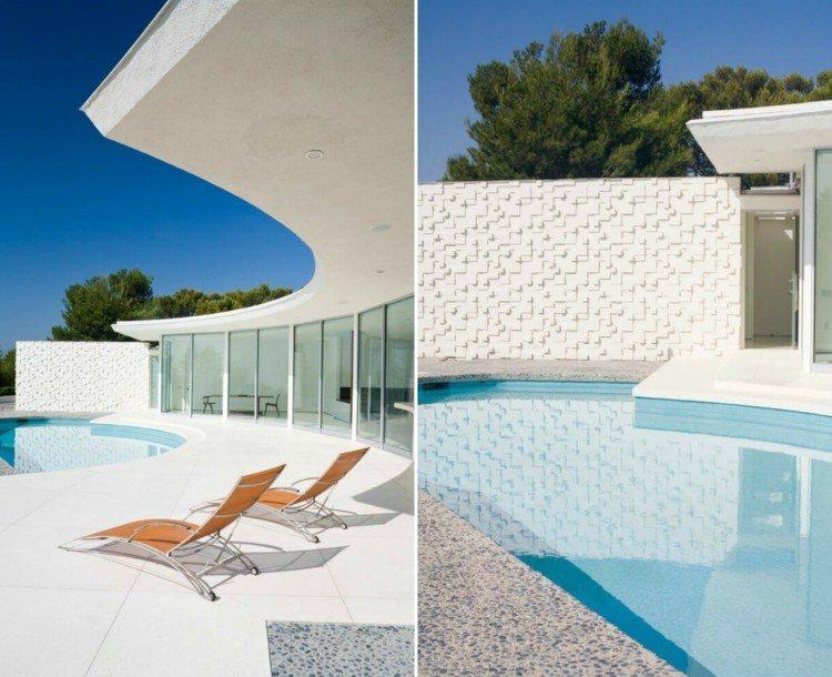 piscina muros hormigon detalles exteriores camas