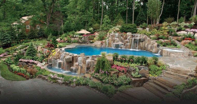 piscinas diseno original jardin nivelado ideas