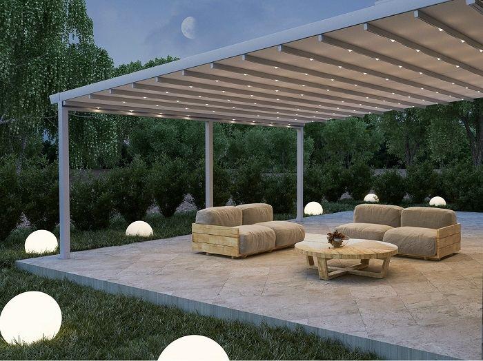 pergola jardin moderno amplio sillones diseno ideas