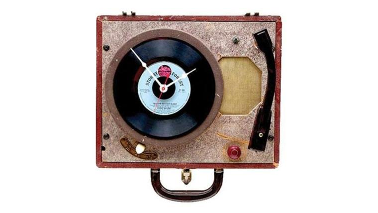 reloj tocadiscos disco vinilo viejo