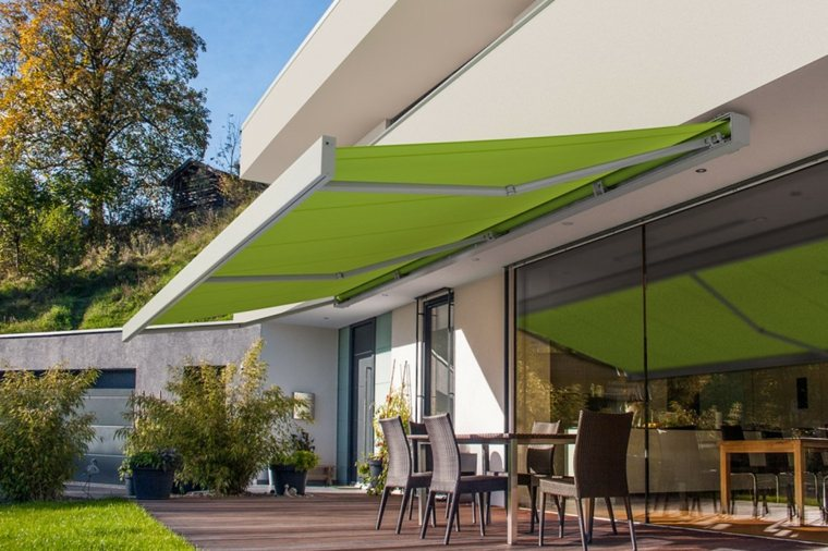 retractables verdes cocinas exteriores cesped