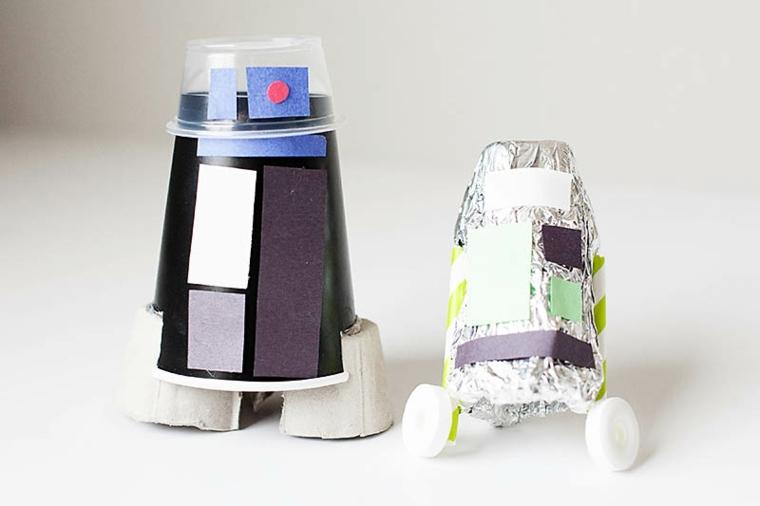 robots juguete reciclados caseros materiales