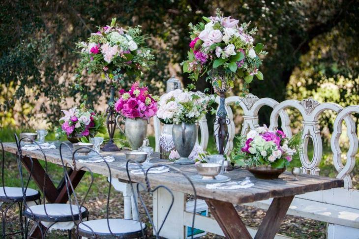 romantica floreadas mesas encuentros sociales metales