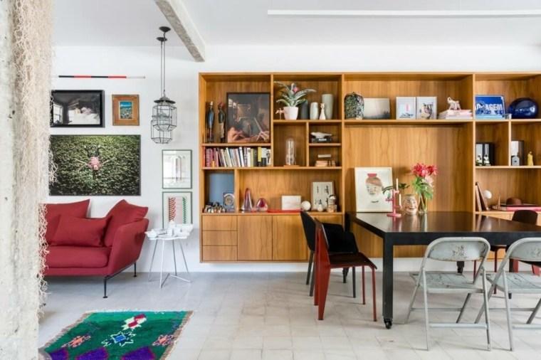 sala estar mueble madera