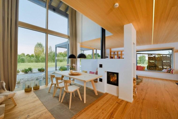 salon madera natural diseño moderno