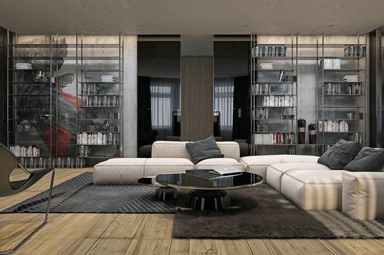 salon moderno industrial suelo madera