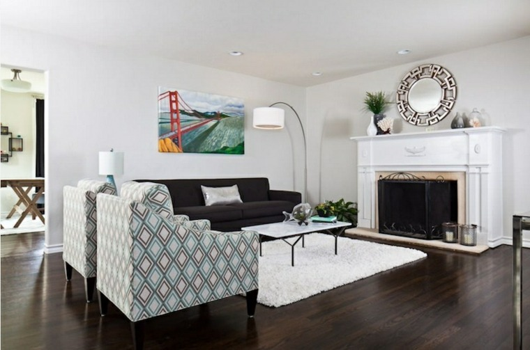 salon moderno chimenea diseño leña