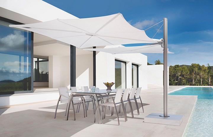 sombrilla sol aire libre blanca elegante ideas