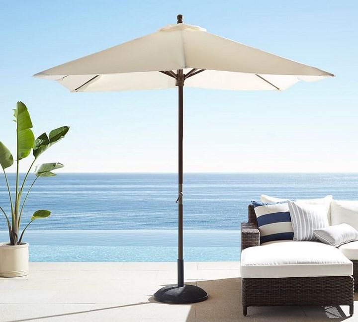 sombrilla sol aire libre blanca tumbonas ideas