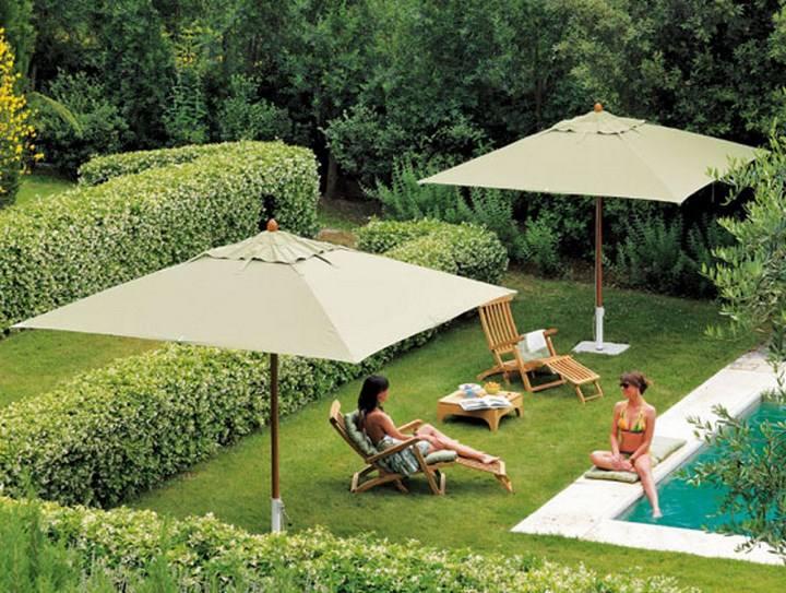 sombrilla sol aire libre jardin piscina ideas