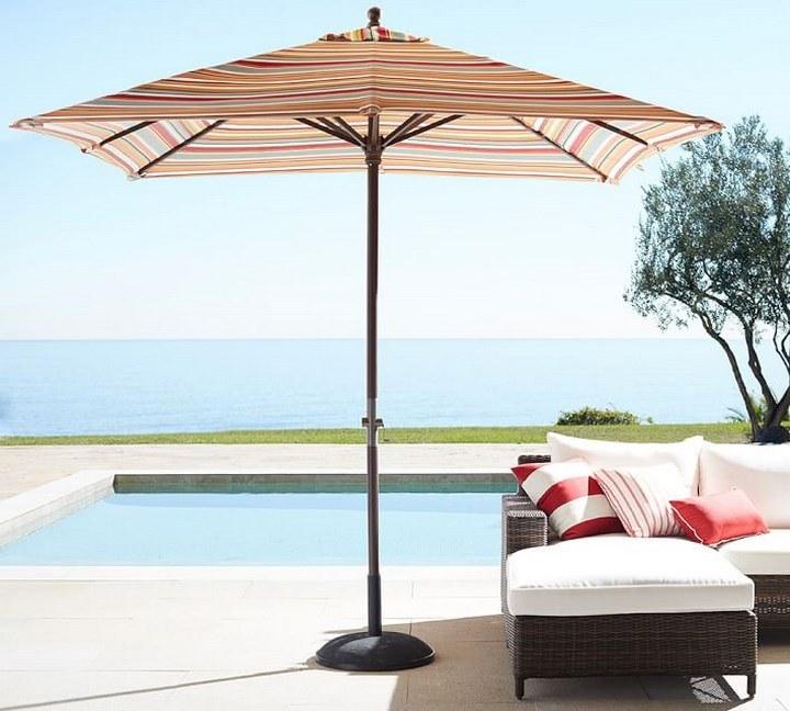 sombrilla sol aire libre rayas colores ideas