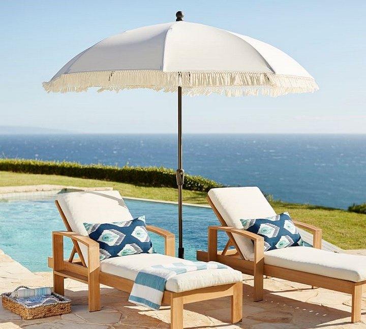 sombrilla sol aire libre tumbonas teca piscina ideas