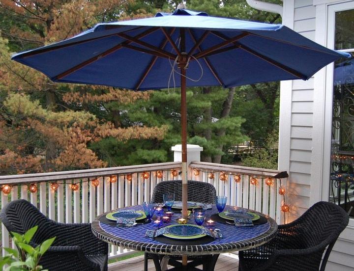 sombrillas sol aire libre muebles ratan negros ideas