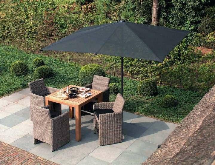 sombrillas sol aire libre negra jardin elegante ideas