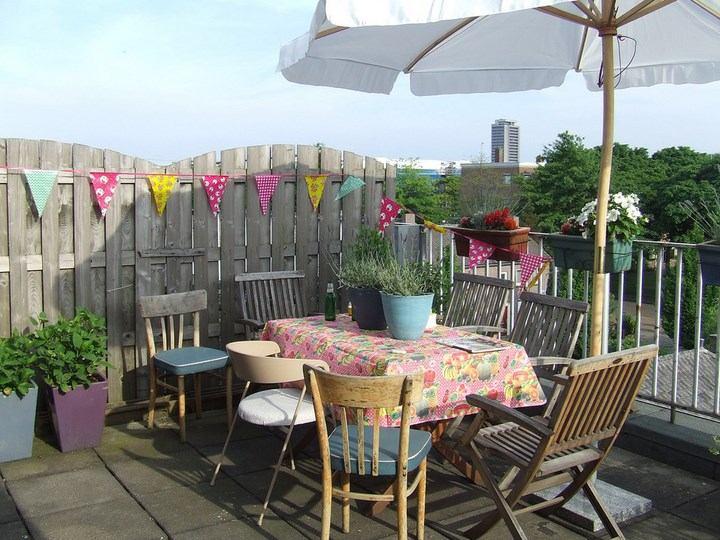 sombrillas sol aire libre patio diseno ideas