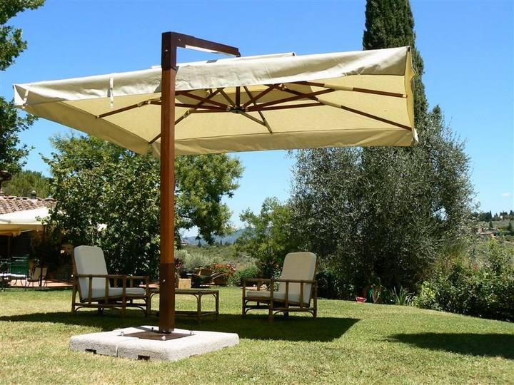 sombrillas sol aire libre pie madera jardin ideas - Sombrillas Jardin