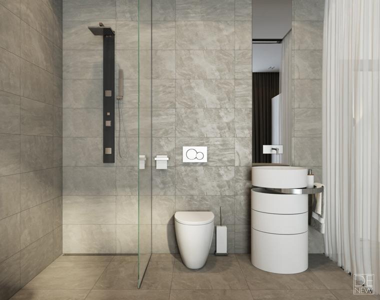 cuarto baño azulejos grises
