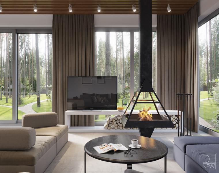 studio diseño salon chimenea