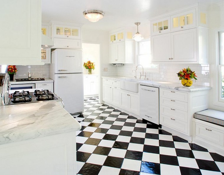 suelo cocina diseno baldosas ajedrez