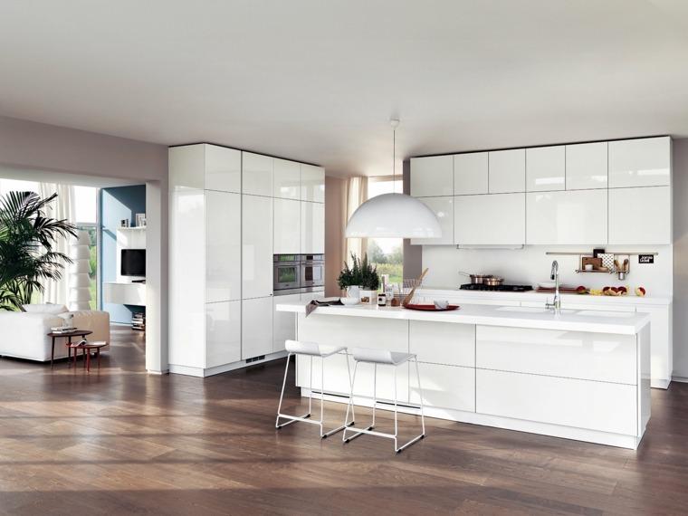 suelo madera gabinetes blancos cocina moderna ideas