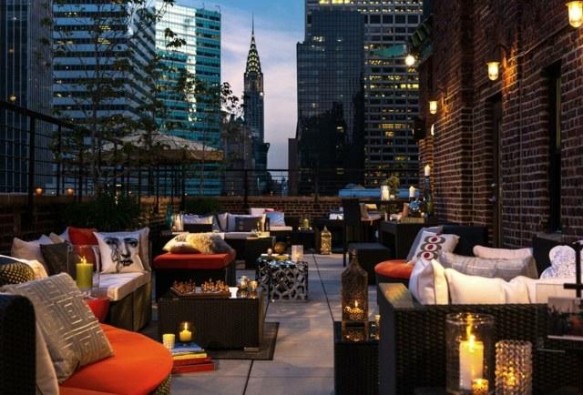 terraza techo lamparas paredes moderna ideas