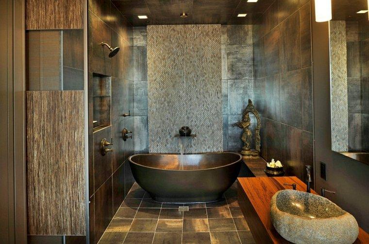 Baños Rusticos Con Encanto:En los baños más grandes se pueden colocar elementos similares Uno