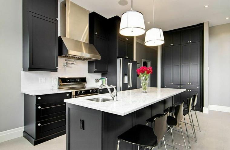 muebles cocina color negro superficie