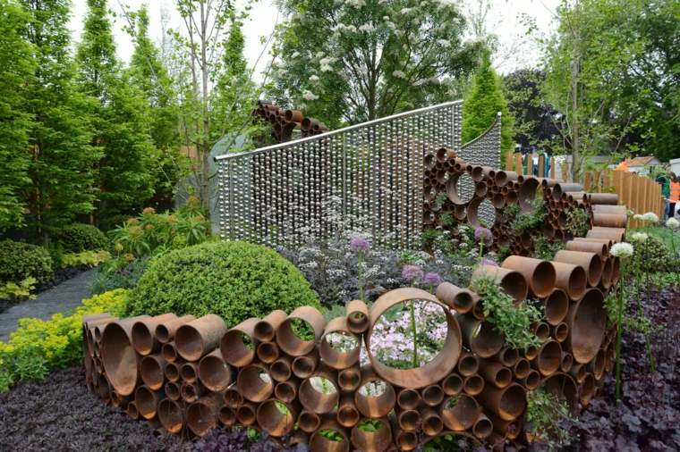 valla ideas originales tubos corten