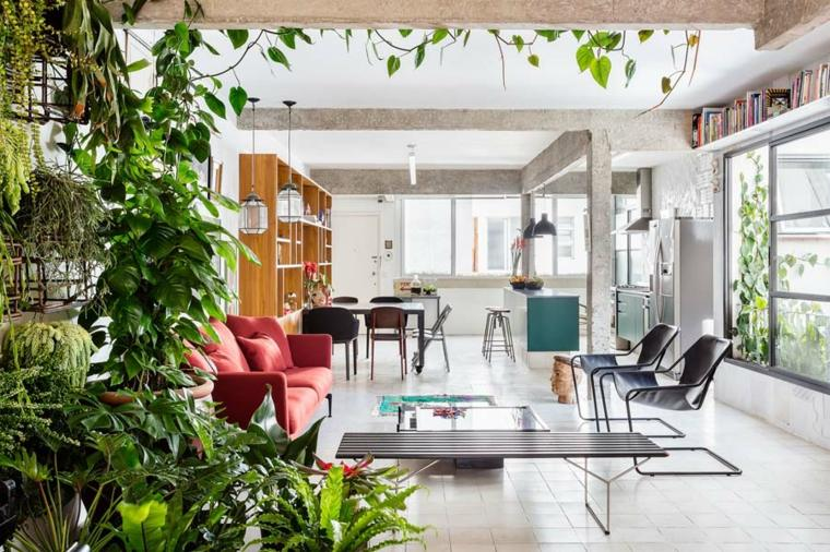 vegetacion salon diseño moderno sofa
